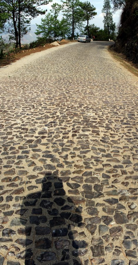 The cobble stones of the Burma road.