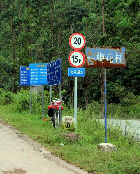 Road signs on the Burma Road.