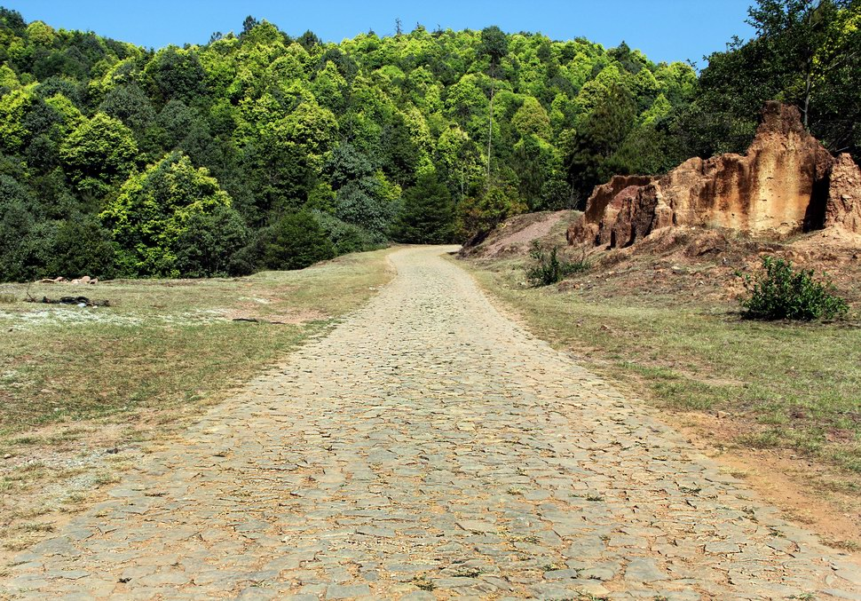 Cobble stone road.