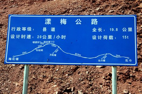 Road information sign on the Burma Road.